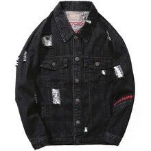 Fashion Streetwear Men Jacket Vintage Black Color Destroyed Ripped Denim Jackets Men Casual Coat Embroidery Hip Hop Jacket Homme bleach wash extreme destroyed denim jacket
