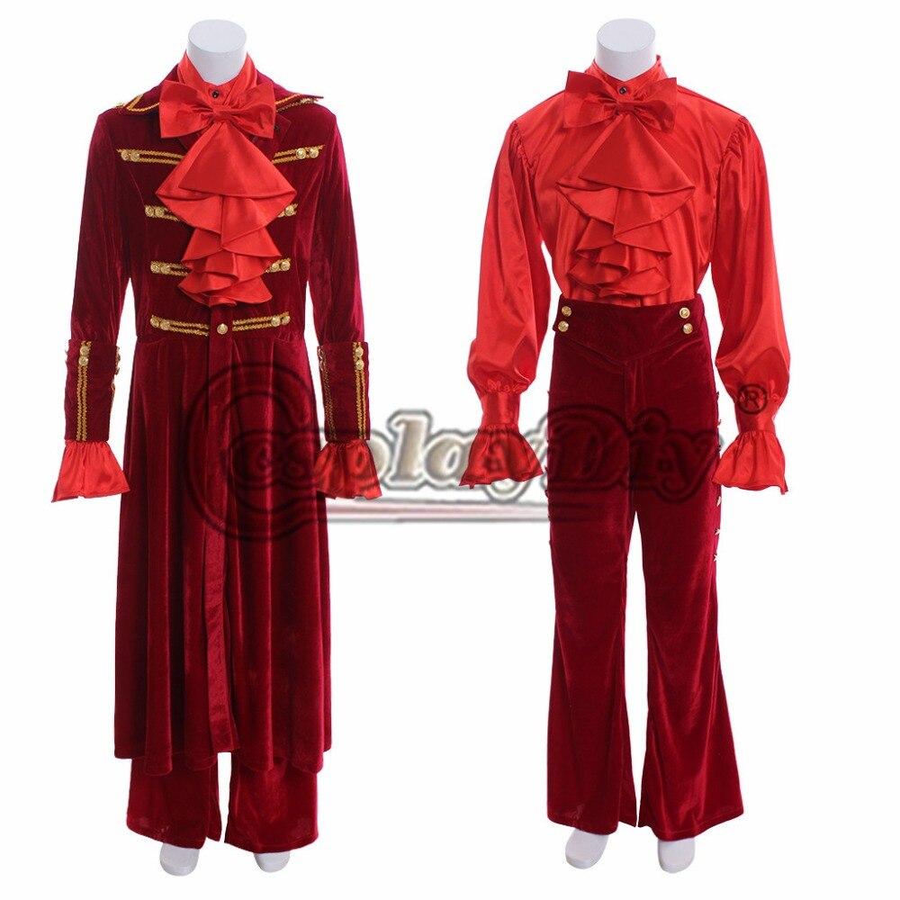 Cosplaydiy индивидуальный заказ в викторианском стиле элегантный готический красный бархат рубашка золота Орна Для мужчин Тал сюртук Для мужчи
