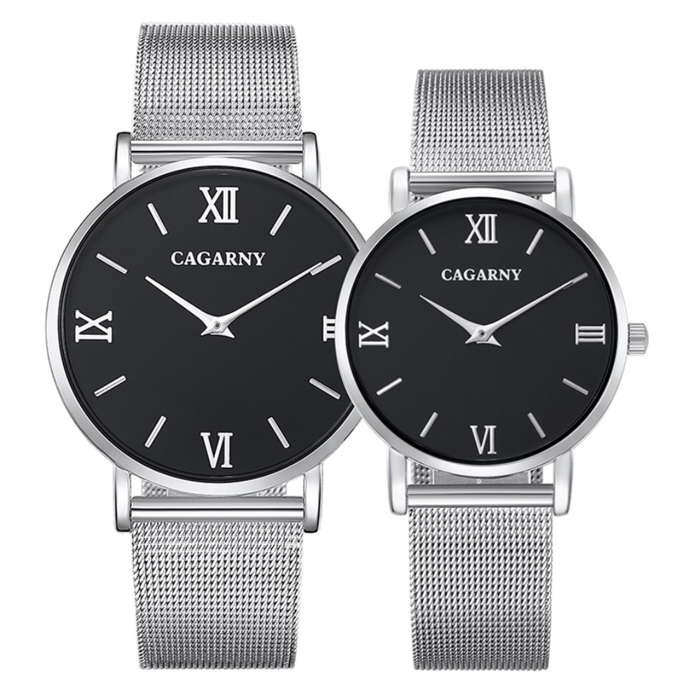 CAGARNY Fashion Men Watch Silver Mesh Steel Bracelet Watches Lovers Gift Quartz Clock Ultra Thin Style Couple Wristwatches
