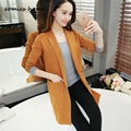 Autumn 2016 Girl Casual Long Knitted Cardigan Korean Women Pocket Design Loose Sweater Jacket Pink White Burgundy Navy blue