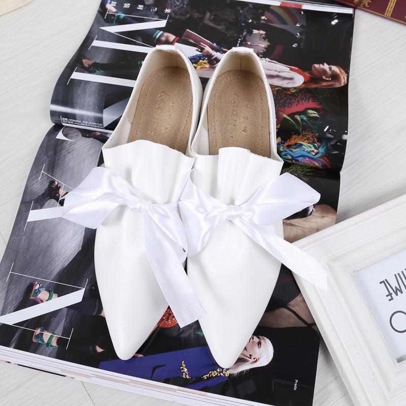 Zapatos Mujer Alpargatas Señoras nudo 2 Bow 32 En Pisos 43 1 Seda Europea Punta Grande Famosa De Arco Marca xFS0E