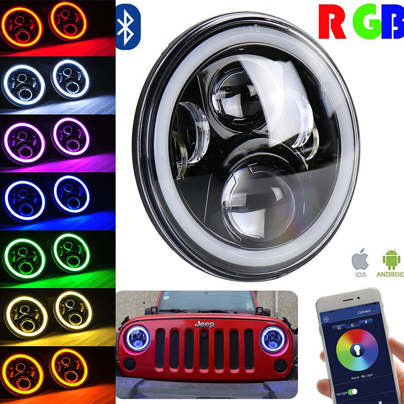Pair 7inch Black Projector led Headlights Kit 50W RGB Halo with Bluetooth Remote Angel Eyes  for Jeep Wrangler JK LJ TJ Hummer