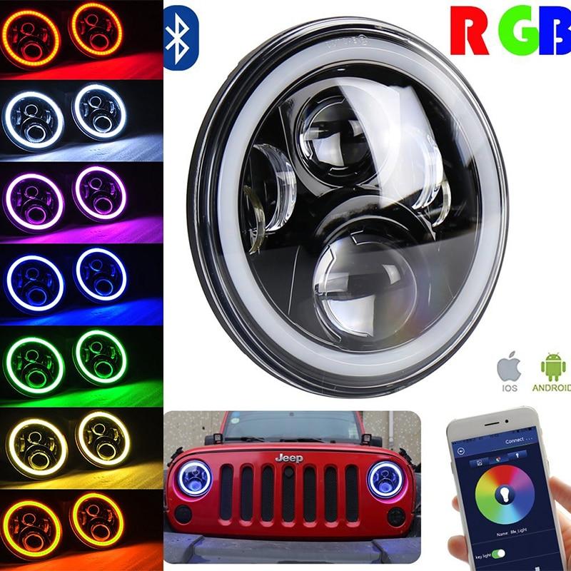 Пара 7-дюймовый черный проектор светодиодный фары комплект 50Вт RGB гало с Bluetooth пульт дистанционного ангельские глазки для Jeep Вранглер JK, ЖЖ ТДЖ Хаммер