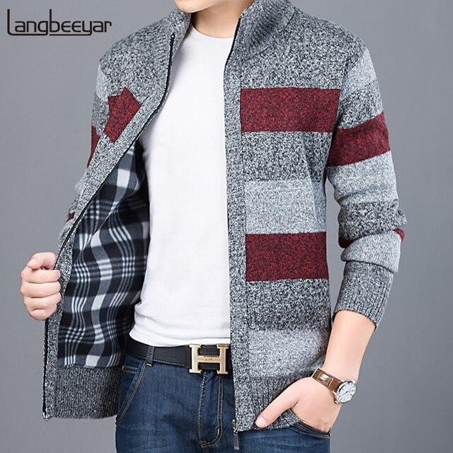 2019 עבה חדש אופנה מותג סוודר עבור Mens קרדיגן Slim Fit מגשרי סריגי חם סתיו קוריאני סגנון מזדמן בגדי זכר