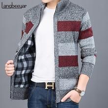 2020 толстый новый модный брендовый свитер для мужчин, кардиган, облегающие вязаные Джемперы, теплая Осенняя повседневная одежда в Корейском стиле для мужчин