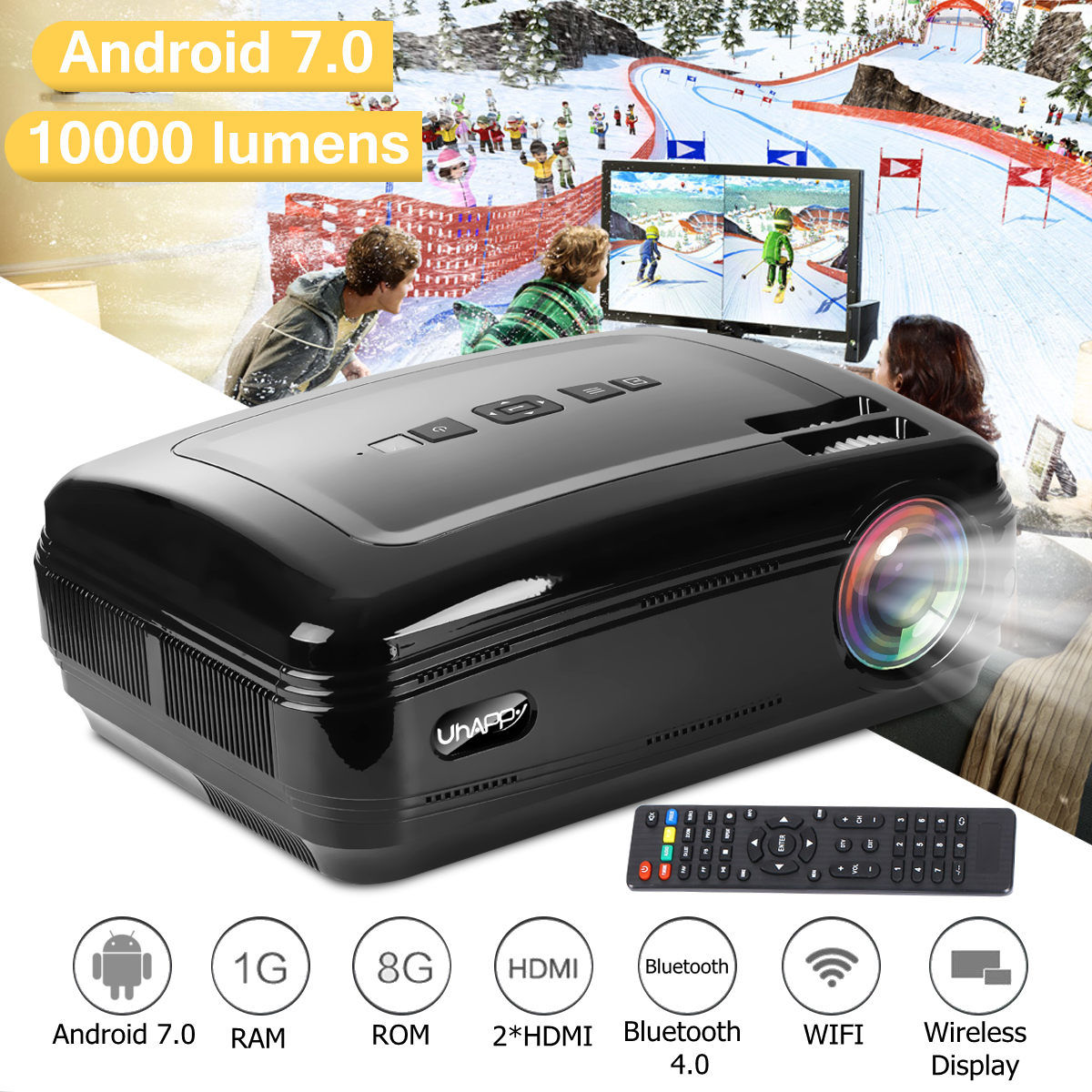 10000 Lumens 1080P Mini Projector 3D LED Home Cinema Theater Projector TV/AV/VGA/HD Beamer For Home Theatre Movie