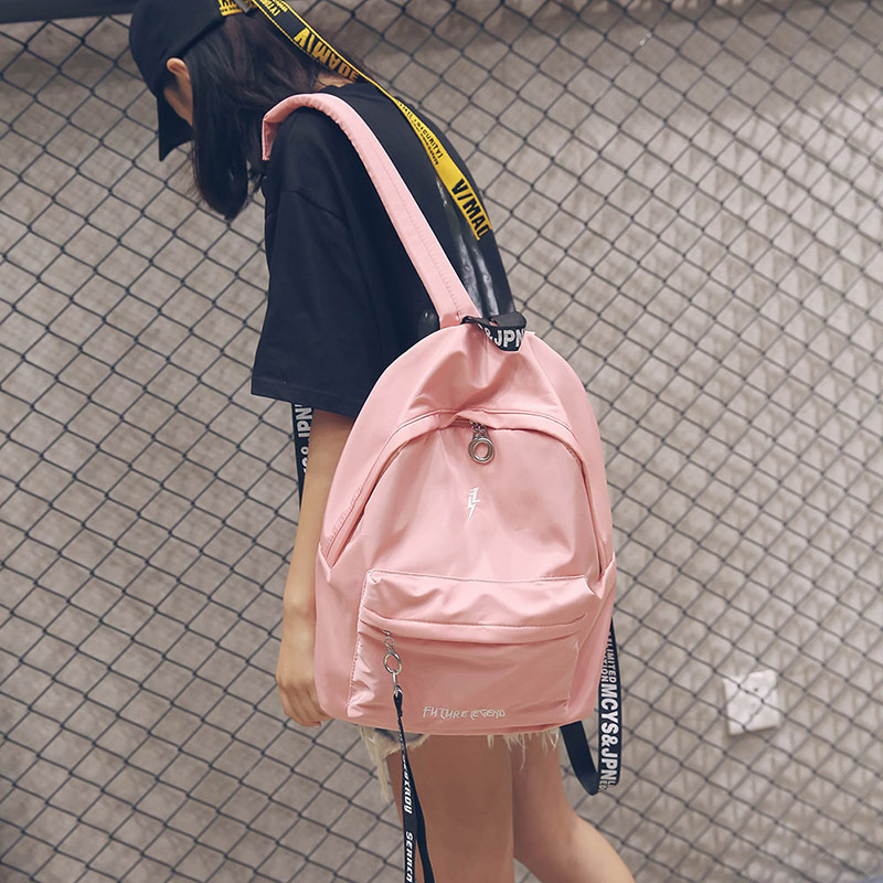 Nylon backpack 2018 autumn and winter new Korean version of the college wind backpack Joker student bag bag female backpack 2017 winter fashion leisure quality waterprof pu men backpack college windbag trend korean version of the tide travellaptop bag
