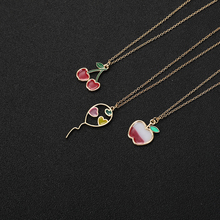 Cartoon Enamel Colorful Fruit Apple love Necklace Flying Balloon with Hearts Red Color Cherry Chain Necklaces