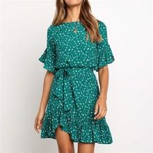 Ruffles çiçek baskı elbise kadınlar yaz kısa kollu o boyun Sashes elbise bayanlar Mini Boho plaj yensiz
