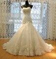 Custom Made Luxuoso Vestido de Casamento Do Laço Da Sereia 2017 Corset Corpete Top Quality vestido de Noiva Vestidos de Novia