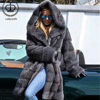 2019 New Fashion Mink Fur Coat For Women Real Fur Coats & Jackets With Hoods Nature Full Pelt Mink Outerwear Overcoats MKW 119