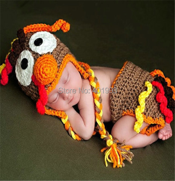 New Newborn baby boy and girl photography props boy Turkey hat and diaper  cover set costume boy hat outfit thanksgiving day gift 5c8f6b91b426