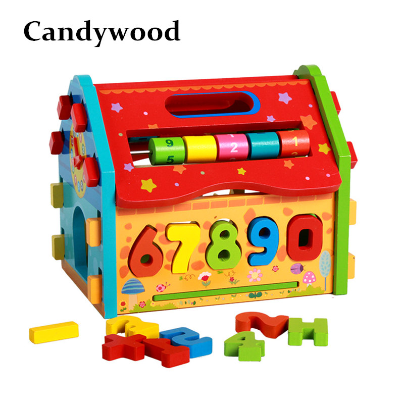 все цены на Candywood Wooden Multifunction house Intelligence Box geometric shape box for Children education learning building blocks toy онлайн