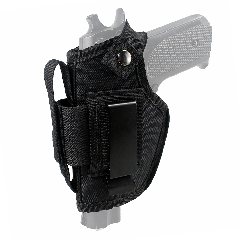 Tactical Gun Holster Concealed Carry Holster IWB OWB Holster with Magazine Slot and Interchangeable Metal Clip 37 adjustable tactical elastic belly band waist gun holster 2 magazine pouches concealed carry universal pistol band holster