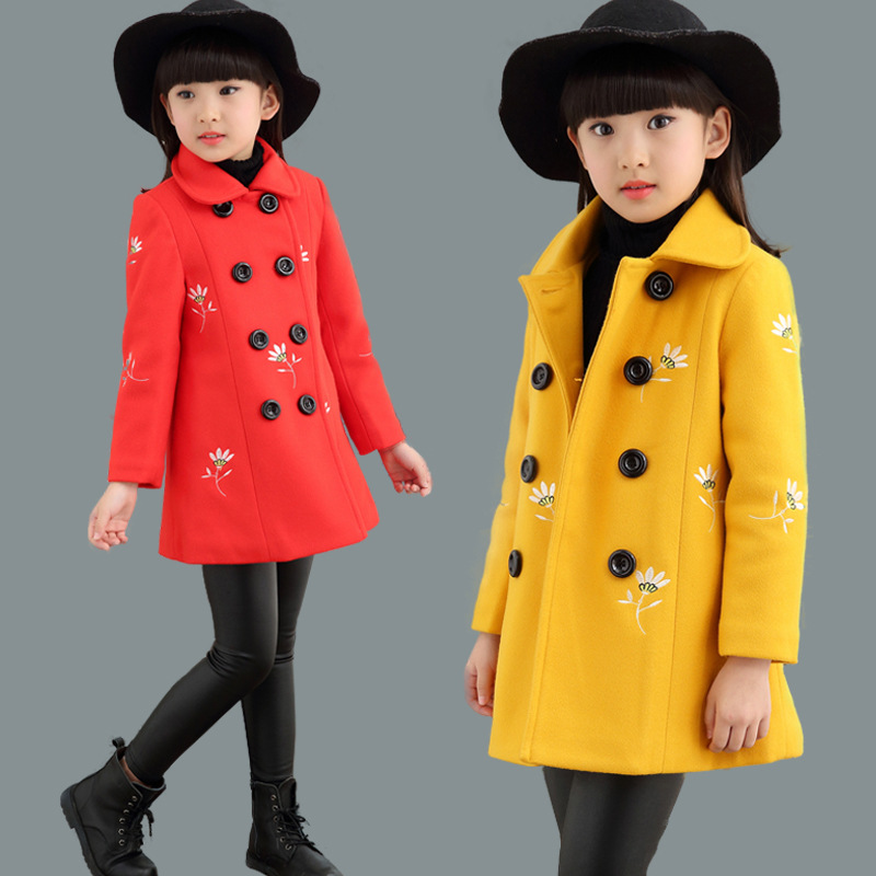 Girls woolen coat jacket 2018 new style autumn and winter fashion children's wear children's long red yellow woolen coat gothic lolita style two wear woolen imitation fur coat steampunk autumn winter fashion long sleeve hooded long jackets