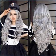 new Fashion Women Stone gray Long Curly Wavy Hair Full Cosplay Lolita Party Wig one piece perona halloween wavy hair cosplay party wig curly wig six ponytails