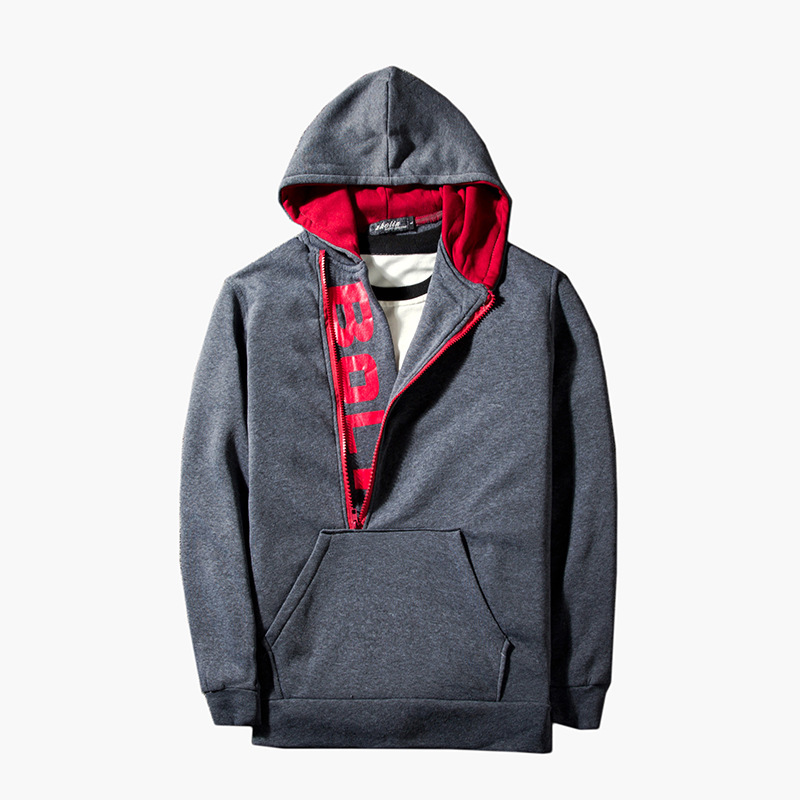 Mens fashion letter printed half door pocket decorative long sleeve pullover hoodie for men casual 4colour