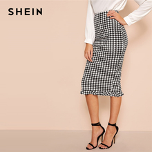 SHEIN Black And White Ruffle Hem Bodycon Houndstooth Sheath Skirt Womens Spring Elegant Casual High Waist Straight Long Skirt