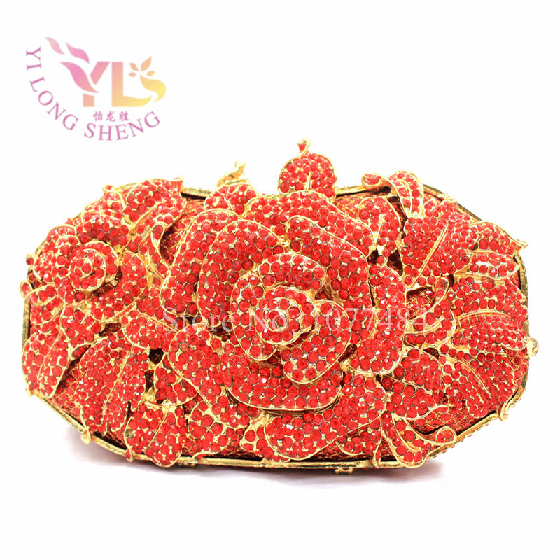 Bridal Evening Purse Floral Crystal Metal Bridal Evening purse clutch bag luxury designer handbags 9 Colors Available YLS-F12Bridal Evening Purse Floral Crystal Metal Bridal Evening purse clutch bag luxury designer handbags 9 Colors Available YLS-F12