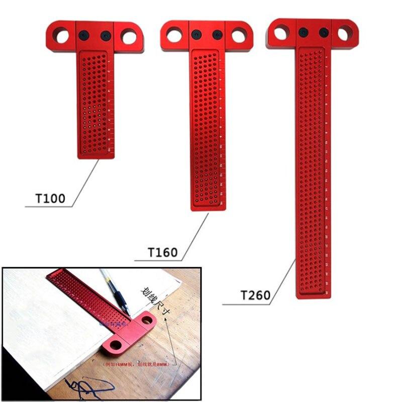Scriber carpintaria buraco liga de alumínio T-em forma de régua régua de madeira mini cruzou riscador ferramenta de Medição de Precisão Cruz-cal