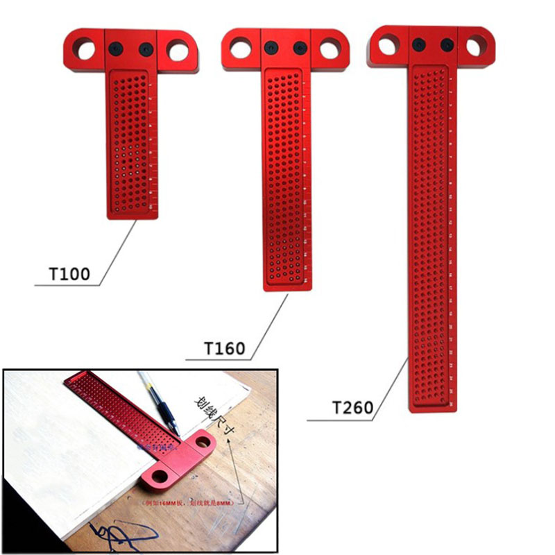 Woodworking Hole Scriber Ruler Aluminum Alloy T-shaped Ruler Woodworking Mini Scriber Crossed Measuring Tool Precision Cross-cal