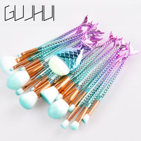 15 16PCS Mermaid Makeup Brush Set Fish Tail Foundation Blush Eye Shadow Make Up Brush Contour