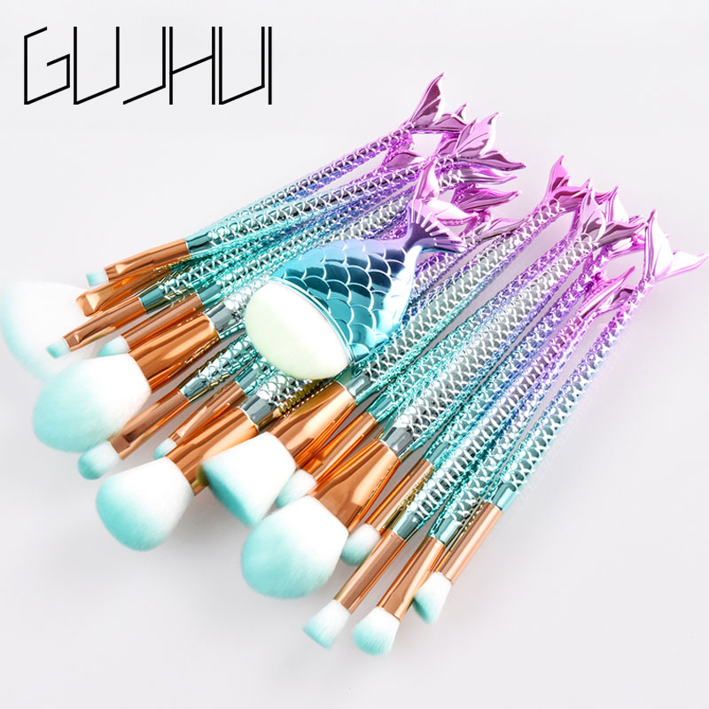 15/16PCS Mermaid Makeup Brush Set Fish Tail Foundation Blush Eye shadow Make up Brush Contour Blending Cosmetic Brushes Kit silver professional foundation brush fish scale makeup brushes pro foundation powder blush contour brush fishtail cosmetic tool