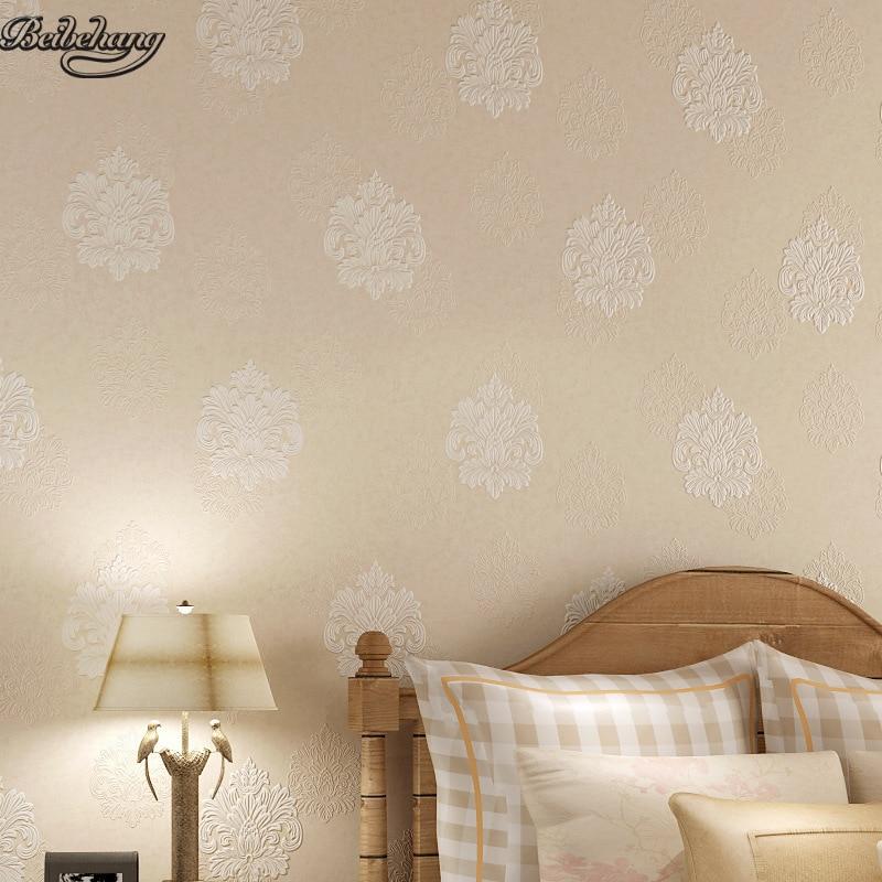 ₩Beibehang simple europeo no tejido 4D wallpaper salón dormitorio TV ...