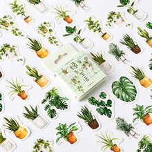 Green plants Paper Small Diary Mini Japanese Cute box Stickers set Scrapbooking Flakes Journal Stationery