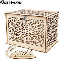 OurWarm Vintage DIY Card Box Wedding Gift With Lock Birthday Party Decoration Wooden Money For Baby Shower Favor