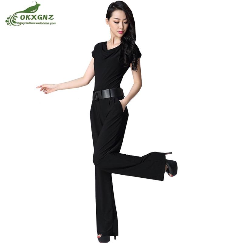 Fashion 3 color summer jumpsuit female 2018 new Plus size S-3XL loose jumpsuit womens casual thin section wide leg pants OKXGNZ