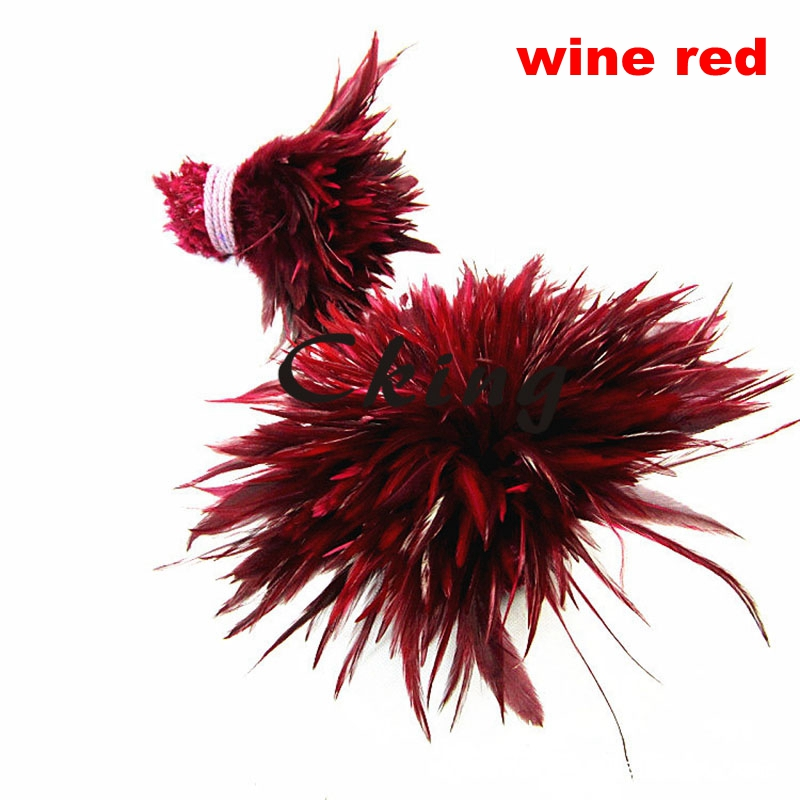 1kgs/lot wine red color dyed 4 6 Beautiful Decolorizing Natural Grizzly Rooster Saddle Feathers Hair Extensions free shipping