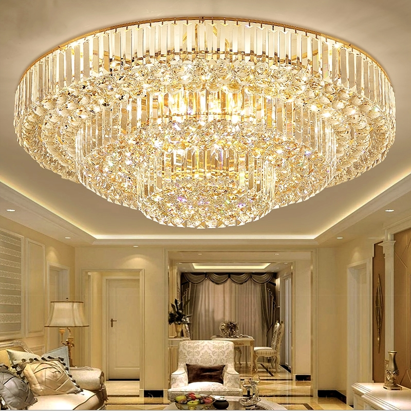 Modern Living room lamp crystal led ceiling Lights minimalist atmosphere home round luxury restaurant bedroom light