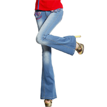 Бесплатная Доставка 2017 Мода Длинные Брюки Для Женщин Вышивки Цветочные Брюки Плюс Размер Джинсовые Flare Джинсы Китайском Стиле XXL Лето