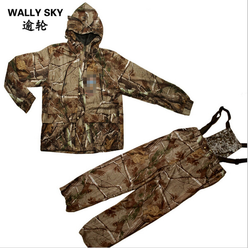 NEW Camouflage Outdoors Jacket Pants Set Suspender Trousers HoodeSoftshell Men Ghillie Suit Waterproof Hunting Clothes Mesh цена 2017
