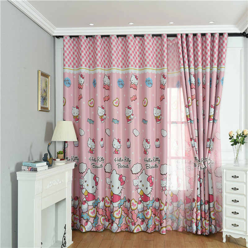 Cute Hello Kitty cartoon print blackout curtain children's baby room children's bedroom living room can be customized size