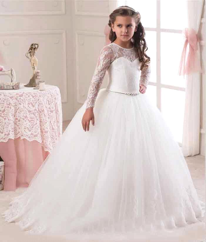 380a31ee 2019 Ivory White Ball Gown Long Sleeve Flowers Girls Dresses for Weddings Lace  First Communion Dress Pageant Dresses-in Flower Girl Dresses from Weddings  ...