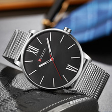 Luxury Quartz Watch Thin Face Stainless Steel Mesh Band