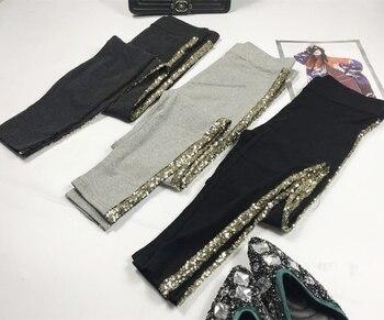 Spring Autumn Leggings Women Fashion Sequins Stripe Side Pure Cotton Trousers Girls Ladies All-match Basic Trousers Leggings цена 2017