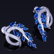 Unusual Plant Blue Cubic Zirconia White CZ 925 Sterling Silver Stud Earrings For Women V0188
