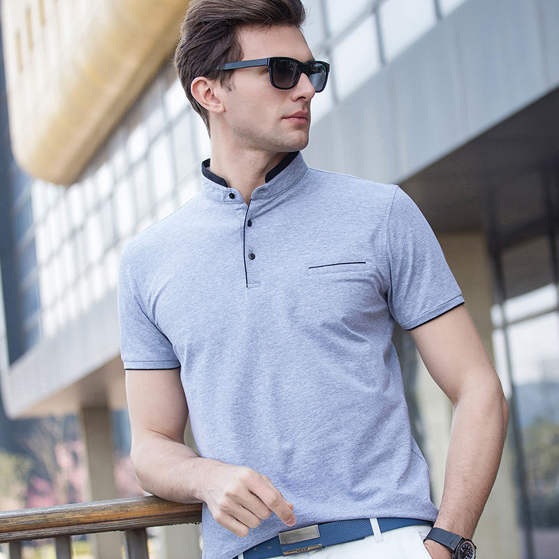 Hot Sale Summer 2017 Mens Solid Color   Polo   Shirt Fashion Stand Up Collar Man Business Casual Cotton Short Sleeve   Polo   Shirts
