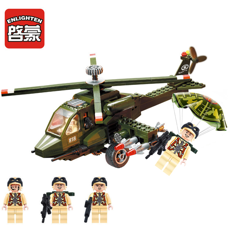 Enlighten 275pcs Military Helicopter Building Block Eductional Assembling Brick Toy For Children Compatible With Legoes Ninjago цена