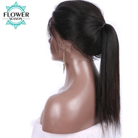 FlowerSeason Indian Pre Plucked Yaki Straight Full Lace Human Hair Wigs Glueless with Baby Hair Natural Color Remy Hair