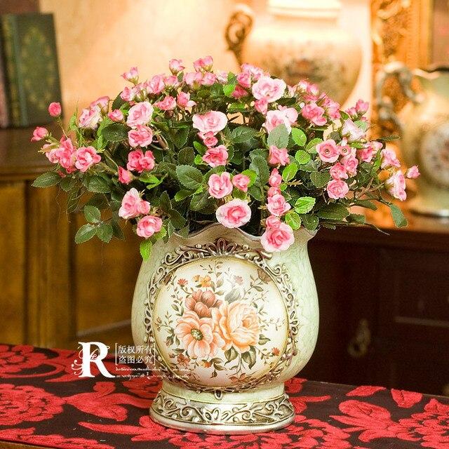 Иветт европейский стиль пастырской цветочные розовый мини-розы 5 расслоение искусственные цветы ваза комплект 1.8 кг
