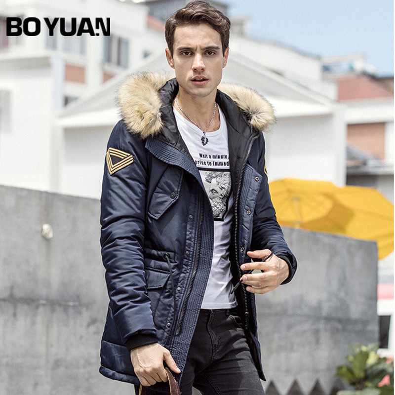 BOYUAN Brand Hooded Parka 2017 Winter Jacket Men Casual Fashion Fur Hood Thick Long Jacket Men Parkas Hombre Invierno DSW2521 nike alliance parka 550 hooded
