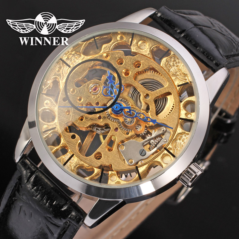 Fashion WINNER Men Luxury Brand Skeleton Causal Leather Strap Watch Automatic Mechanical Wristwatches Gift Box Relogio Releges