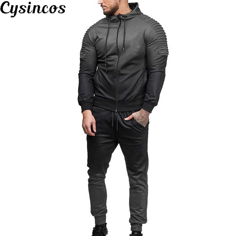 CYSINCOS Autumn Men Gradient Color Tracksuit Set Zipper Hoodies Jacket Outwear Sweater Fitness Workout Joggers Fitness Sets