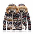 Winter Jackets 2016 Fashion Hooded Parkas Long Sleeve Fur Collar Thicker Coat Pattern Homme Winter Warm Patchwork Cotton Jacket