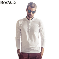 Beswlz New Autumn Men Tops Long Sleeve T Shirts Casual Cotton Slim Fitted T Shirts Men