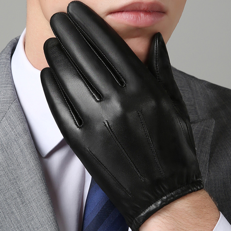 Image 2 - Genuine Leather Men Gloves Autumn Winter Plus Velvet Fashion Trend Elegant Male Leather Glove For Driving NM792B-in Men's Gloves from Apparel Accessories on AliExpress